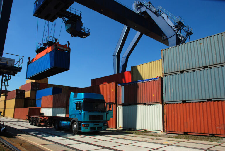 truck and container at a port