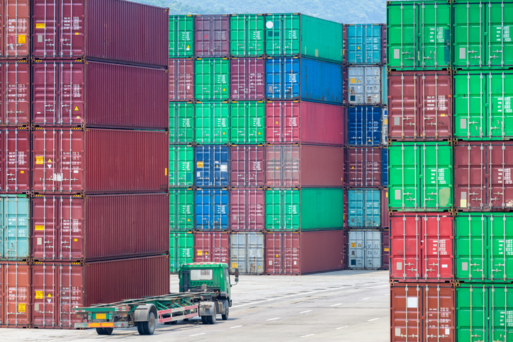 container stack yards, modern logistics background