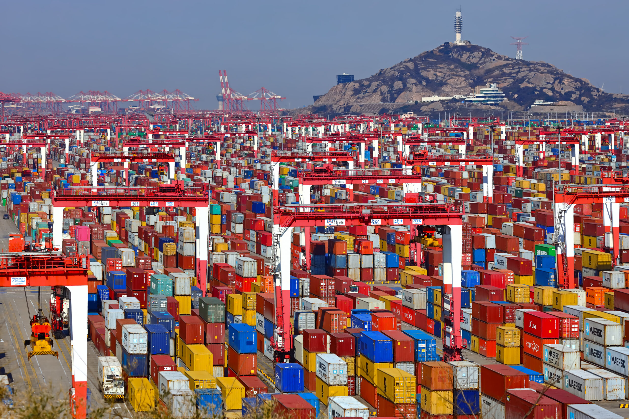 Containers in Shanghai Yangshan Deep-water Port with cranes