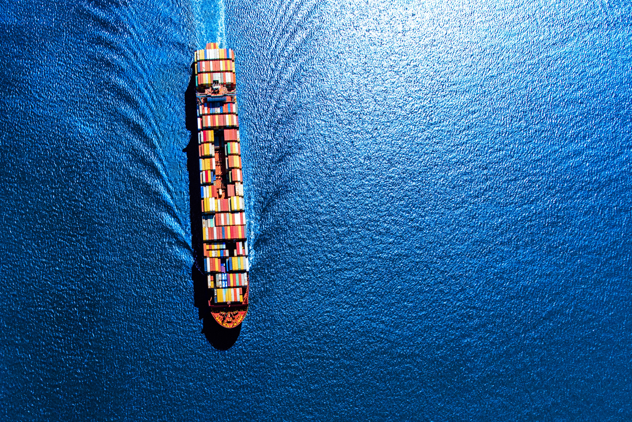 A fully loaded container ship heading toward the Port of Houston from the Gulf of Mexico.