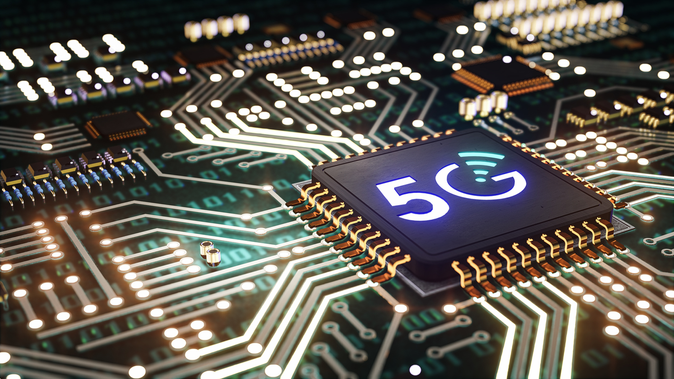3D of Motherboard with 5g chip, 5G High speed internet network communication with icon, Smart city and communication network and internet of things, concept of 5G network, high-speed mobile Internet, new generation networks.