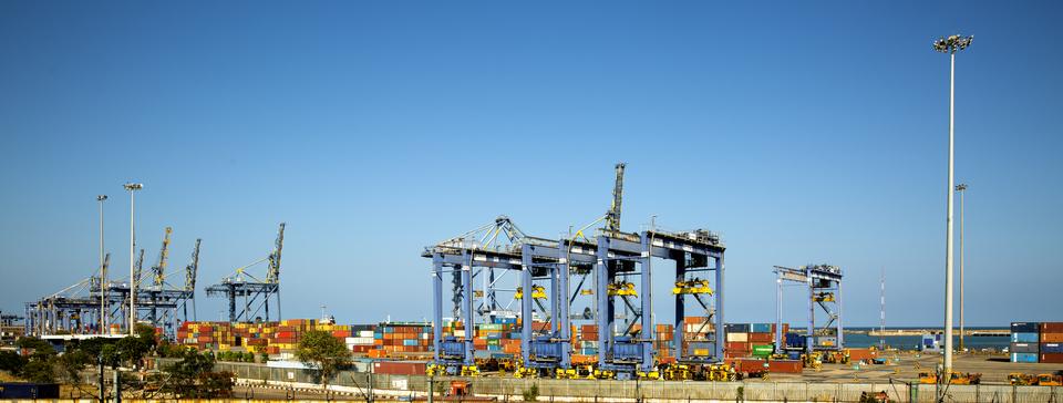 Chennai city , Chennai  INDIA tamil nadu - january 11, 2020: Chennai harbour is one of the largest harbor in india. chennai harbour kasimedu