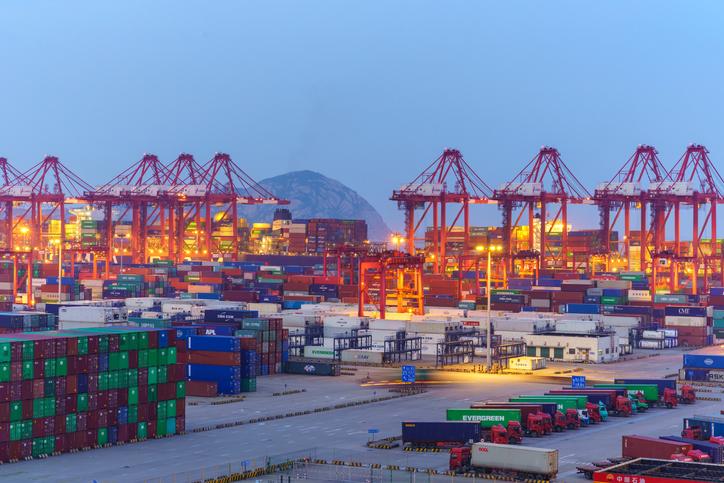 shanghai container terminal at dusk ,yangshan deep-water port , China