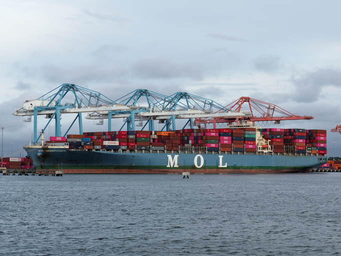 Norfolk, USA - June 9, 2019: Mitsui Osk Lines ship MOL Magnificence docked at one of Norfolk's port terminals.