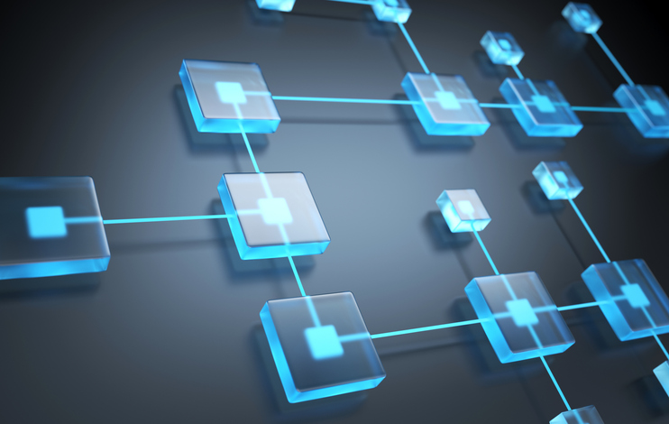 Flow chart or blockchain concept