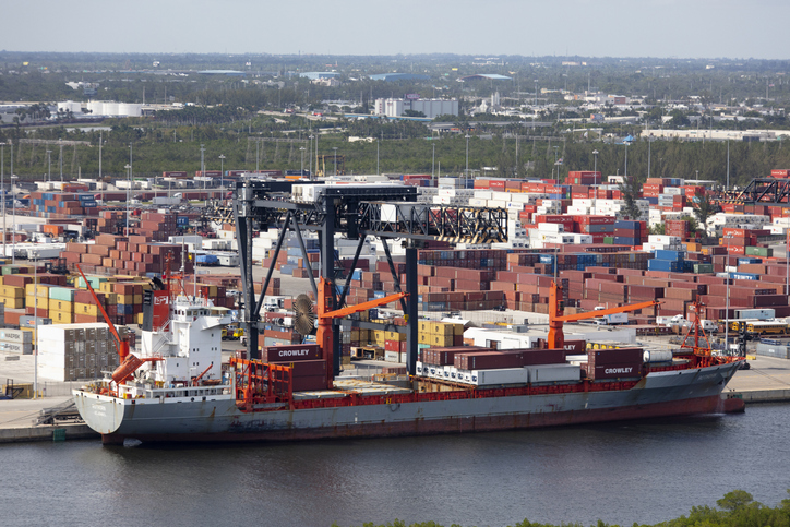 Aerial of containers Port Everglades Fort Lauderdale Florida photograph taken Oct 2017