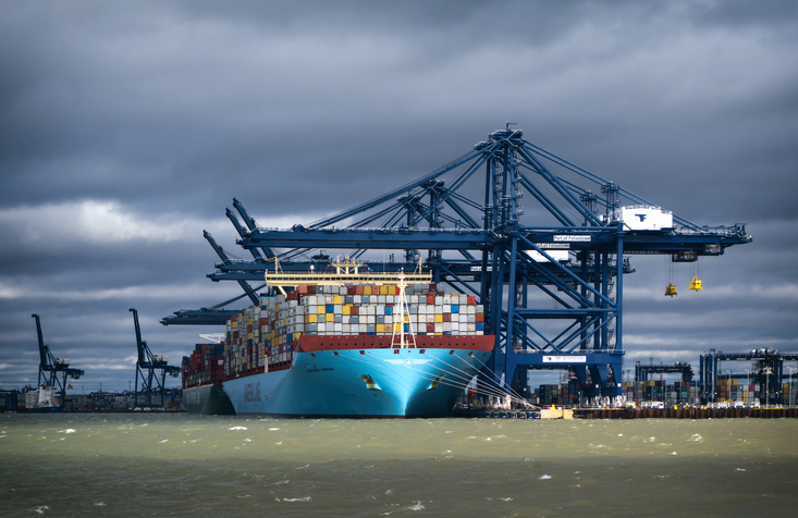 Maersk ship at the Port of Felixstowe